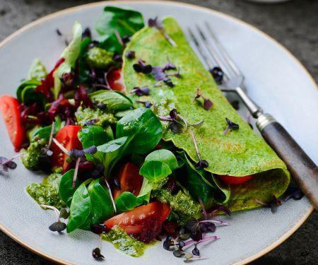 Spinat-Omelett mit Pesto