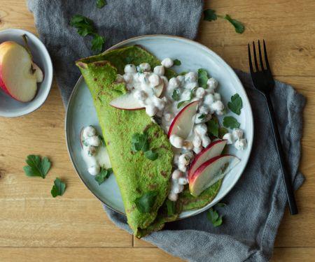 Spinat-Pfannkuchen mit Kichererbsen-Füllung