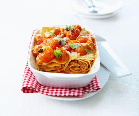 Spirallasagne mit Tomaten