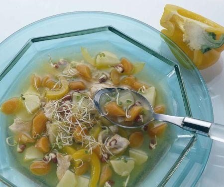 Sprossen-Gemüsesuppe mit Pute