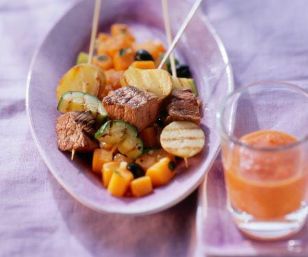Straußenfilet mit Zucchini-Kürbisgemüse