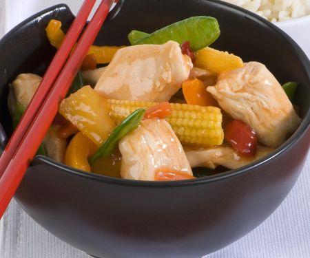 Süß-saures-Hähnchen mit Gemüse
