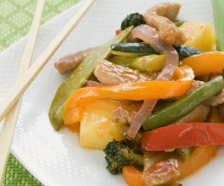 Süß-saures Schweinefleisch mit Gemüse und Reis