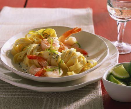 Tagliatelle mit Shrimps-Limettensoße