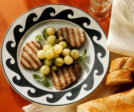 Thunfisch vom Grill mit Melone