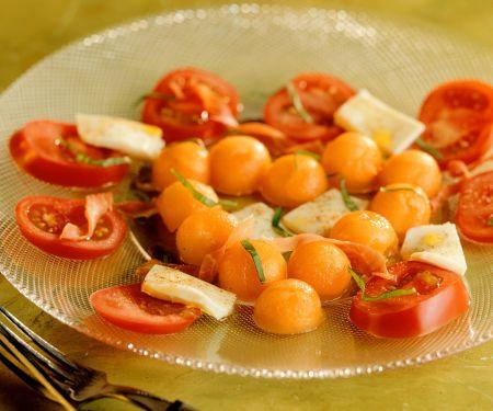 Tomate-Mozzarella mit Melone