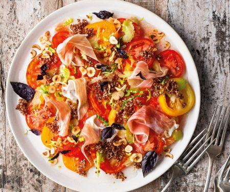 Tomatensalat, Bloody-Mary-Vinaigrette, Nuss-Quinoa