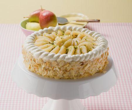 Torte mit Birnen und Mandeln