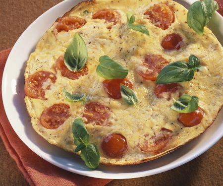 Tortilla mit Tomate und Basilikum