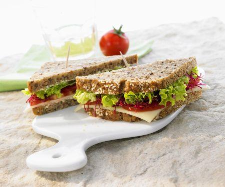 Vollkornsandwich mit Tomaten, Käse und Sprossen