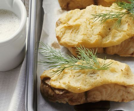 Waller mit Kartoffelhaube und Biersoße