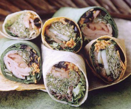 Wraps mit Gemüse-Schinkenfüllung