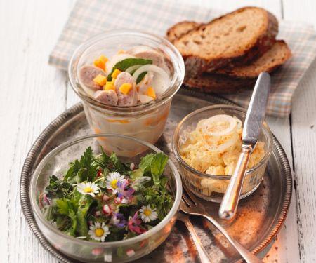 Wurstsalat mit Aufstrich