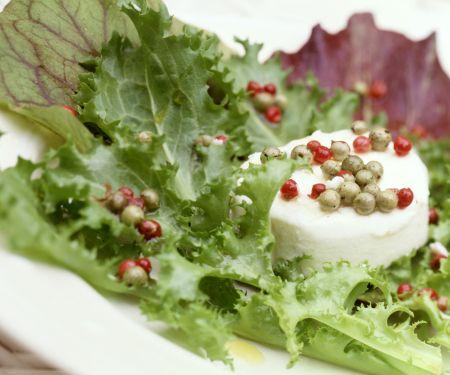 Ziegenkäse mit Pfeffer-Vinaigrette auf Blattsalat