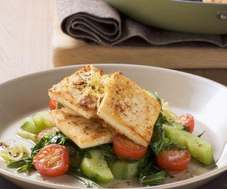 Zitronen-Senf-Tofu mit Gurkengemüse