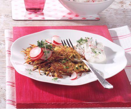 Zucchini-Kartoffelpuffer mit Radieschen-Quark