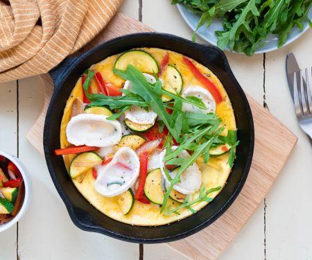 Zucchini-Omelette mit Ziegenkäse und Rucola