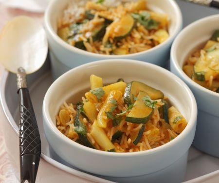 Zucchini-Wachsbohnen-Curry mit Koriander