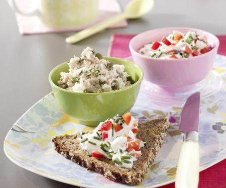 Zweierlei Brotaufstriche: Paprikaquark / Tunfischcreme