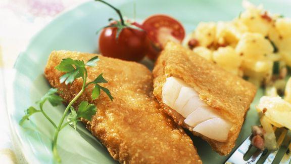 Rezept: Fisch in Panade mit Kartoffelsalat