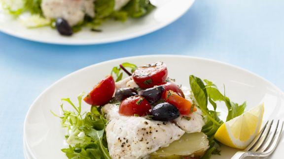 Rezept: Fisch mit Rucola und Tomaten