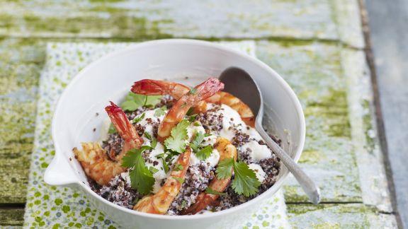 Rezept: Garnelen mit Ricotta-Creme und Quinoa