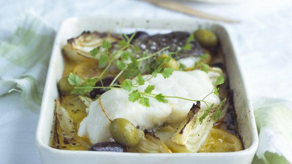 Rezept: Gebackener Kabeljau mit zitronigem Fenchelgemüse