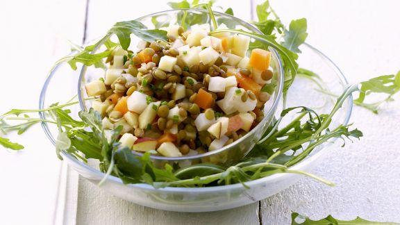Rezept: Salat aus grünen Linsen dazu Rucola