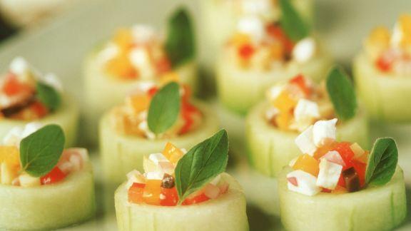 Rezept: Gurkenhäppchen mit Feta