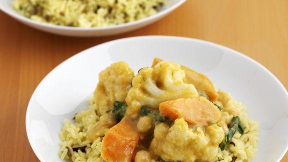 Rezept: Indisches Curry-Gemüse mit Reis