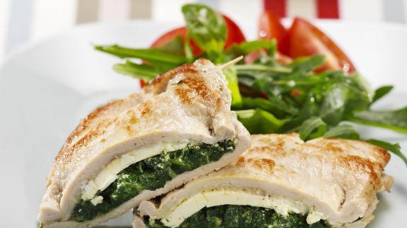 Rezept: Kalbsschnitzel mit Spinat-Feta-Füllung
