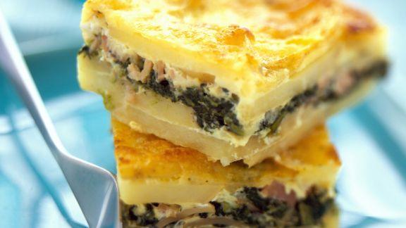 Rezept: Kartoffel-Schinken-Auflauf mit Spinat