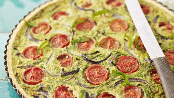 Rezept: Bärlauch-Quiche mit Tomaten