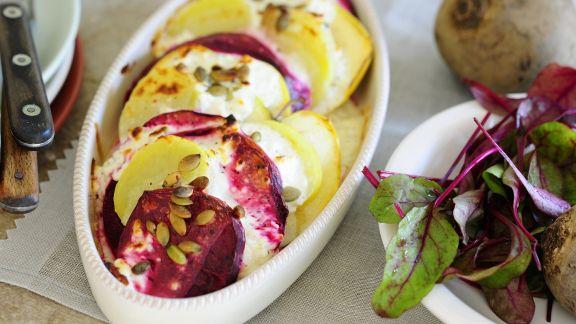Rezept: Kartoffel-Rote-Bete-Gratin