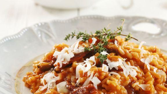 Rezept: Roter Risotto mit Parmesan und Thymian