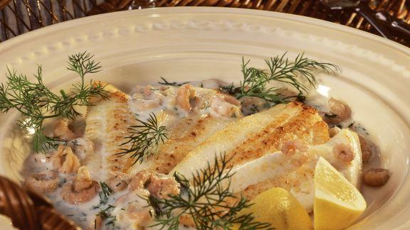 Rezept: Schollenfilet mit Champignons in Dillsoße