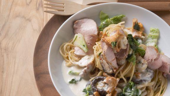 Rezept: Spaghetti mit Kassler, Pilzen und Wirsing