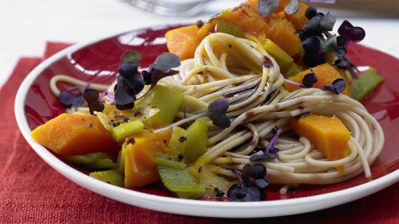 Rezept: Vollkorn-Spaghetti mit Kürbissauce
