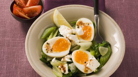 Rezept: Harte Eier mit Mangold
