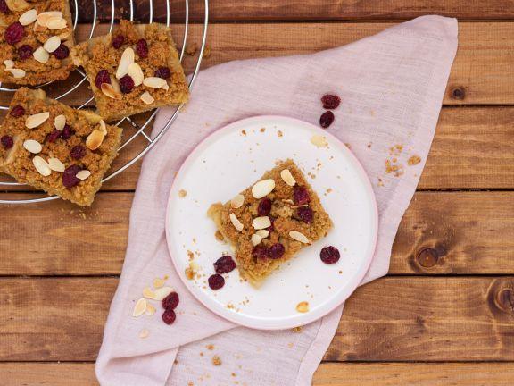 Apfelkuchen aus Ölteig mit Cranberries und Streuseln