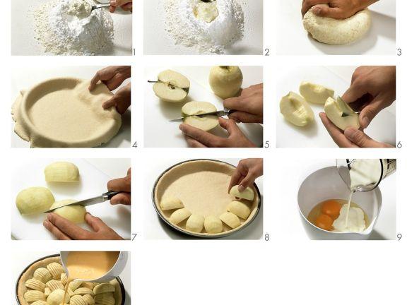 Apfelkuchen mit Eierguss