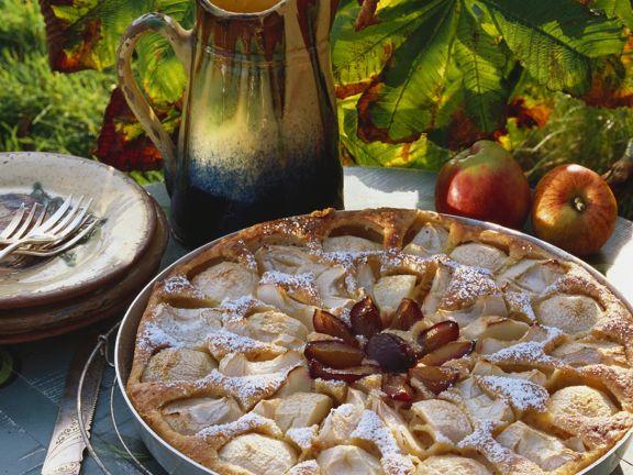Apfelkuchen mit Zwetschgen