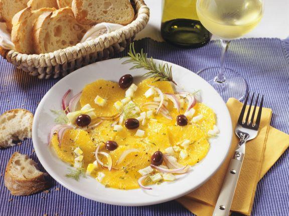 Apfelsinensalat mit Fenchel und Zwiebel