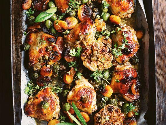 Aprikosen-Hähnchen mit Kapern und grünen Oliven