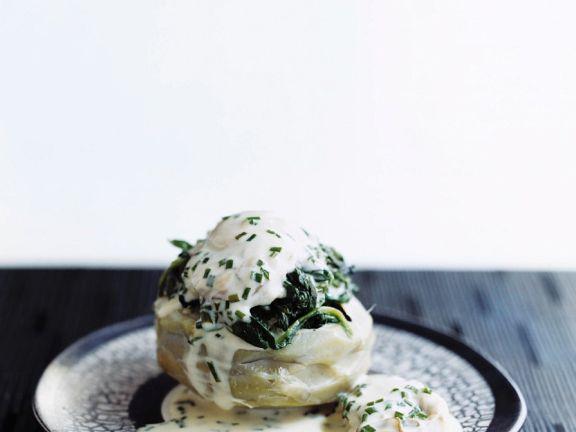Artischocke mit Spinat und Austern