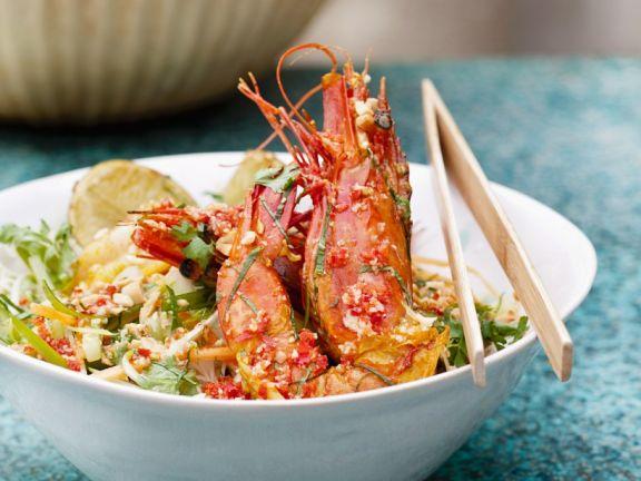 Asia-Reisnudeln mit Shrimps