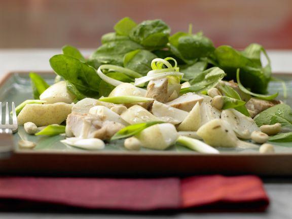 Asia-Spinatsalat mit Hähnchenfilet