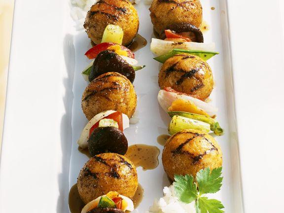 Asiatische Fisch-Gemüsespieße