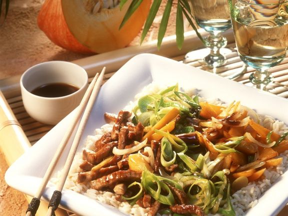 Asiatische Fleisch-Gemüsepfanne