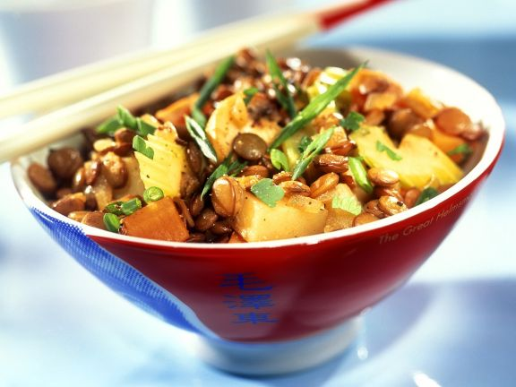 Asiatische Gemüse-Linsenpfanne (vegan)